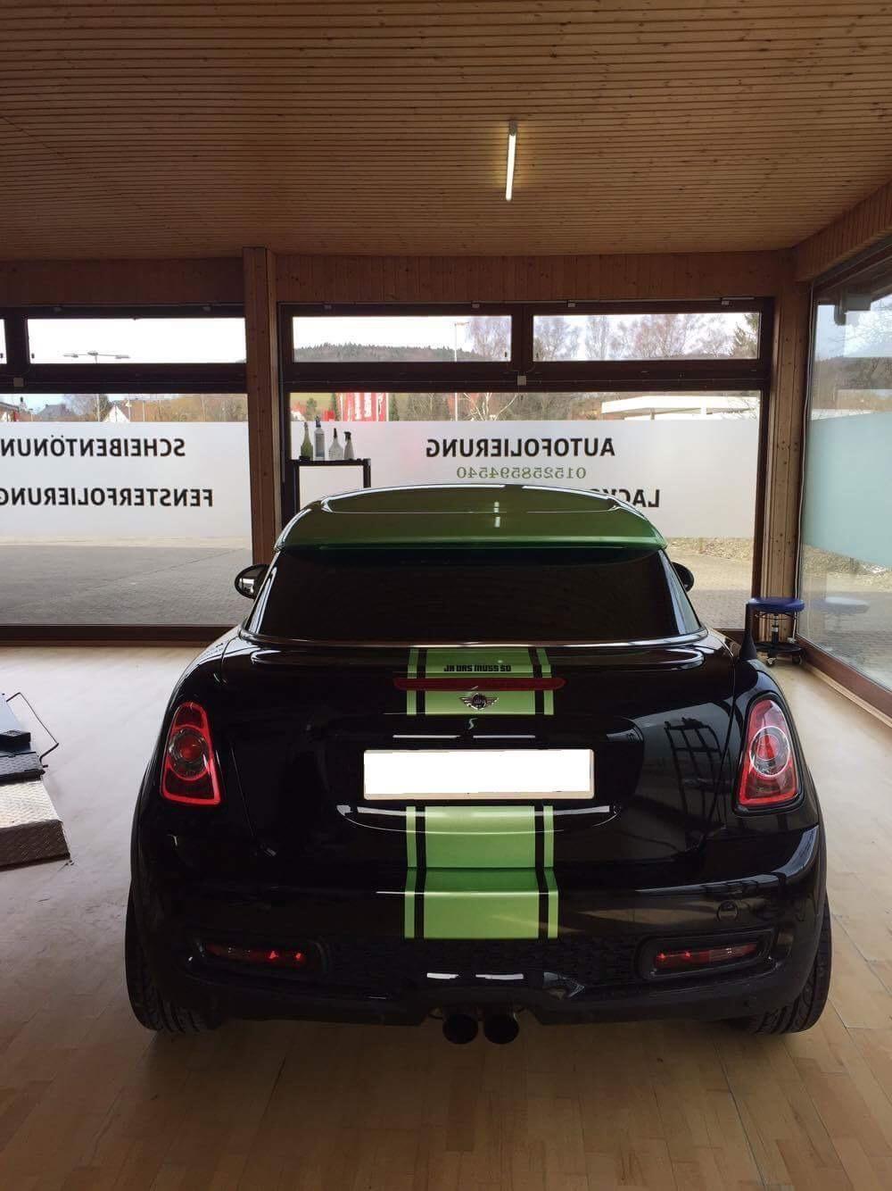 Mini Cooper One Streifen Und Dach Folierung Grun Pearl Dfc Folienwerk